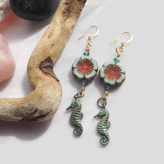 Green Hibiscus Flower Beaded Earrings, Seahorse Charm Dangle Earrings, Handmade