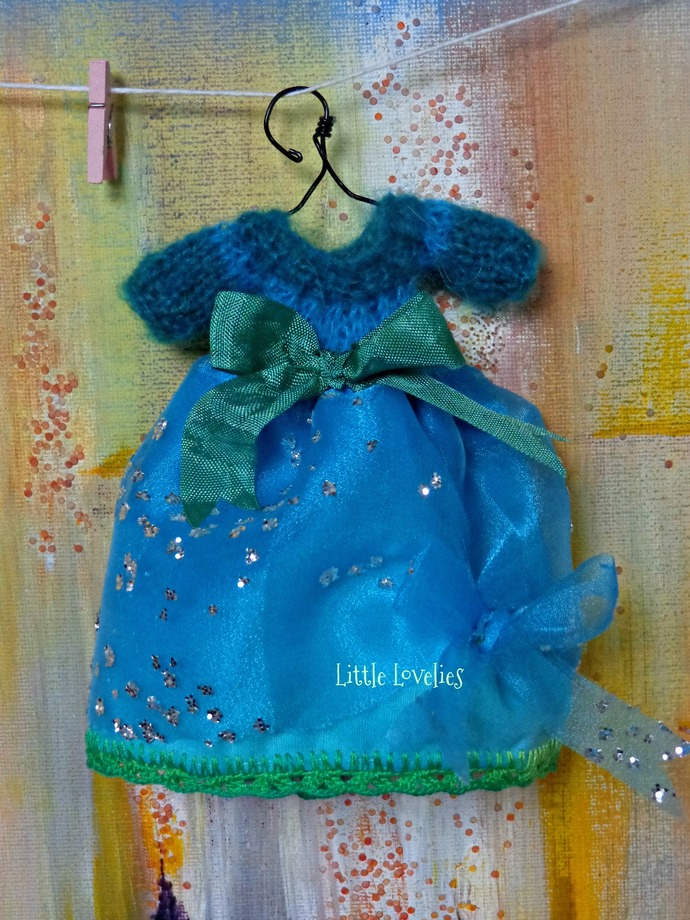BLYTHE or Pullip DOLL Dress - OOAK - Charm - mohair bodice over organza and