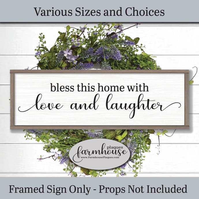 Bless This Home With Love And Laughter | Sign Farmhouse Decor Signs and Plaques