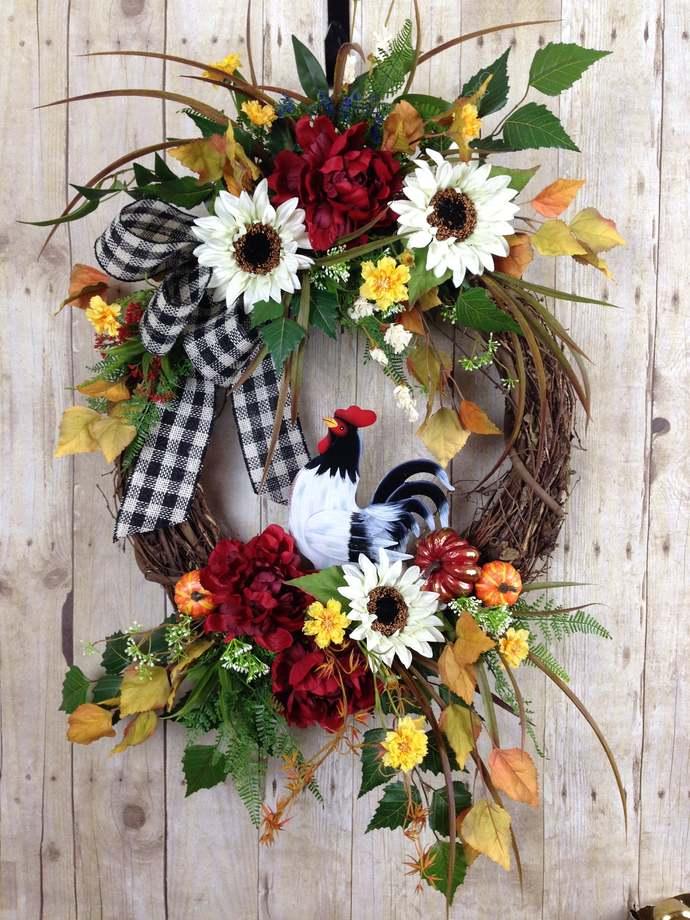 Fall Wreath, Fall Wreaths for Front Door, Large Autumn Wreath, Outdoor Farm