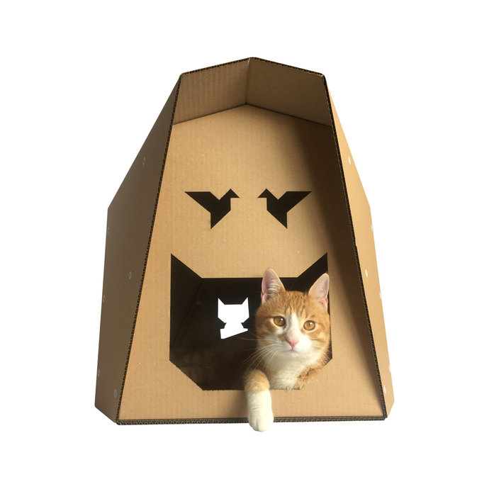 Origami Cardboard Cat House