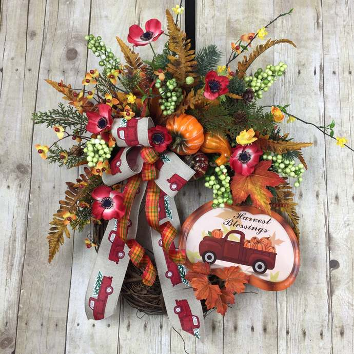 Fall Wreaths, Fall Wreaths for Front Door, Autumn Wreaths, Red Truck Wreath,