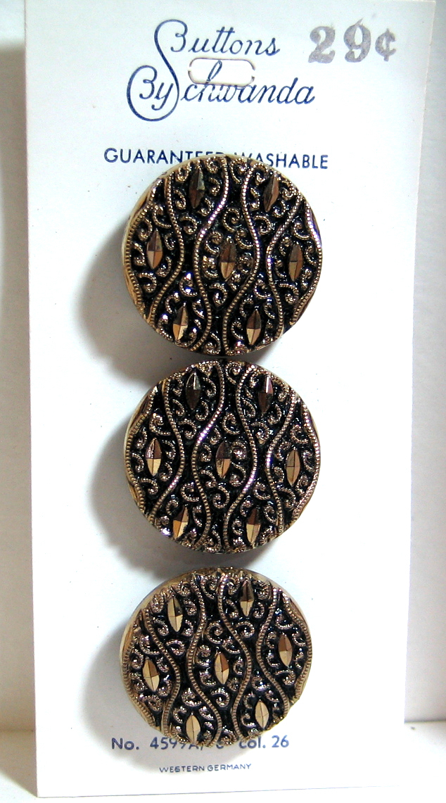 Original card of Beautiful Black Glass Buttons with Gold Luster 4599/A10