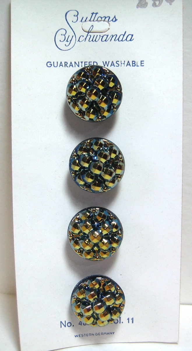Vintage Card of Beautiful Small Black Glass Buttons with Iridescent Luster