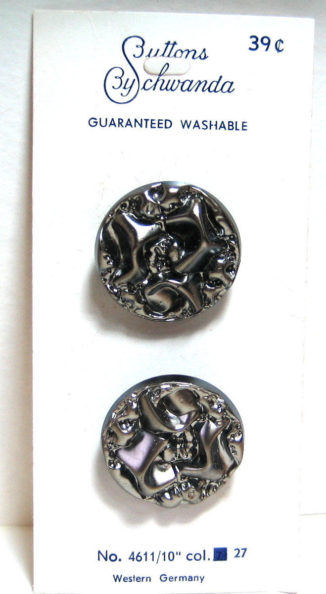 Stunning Chunky Black Glass Button with Gun Metal Luster 4611-10