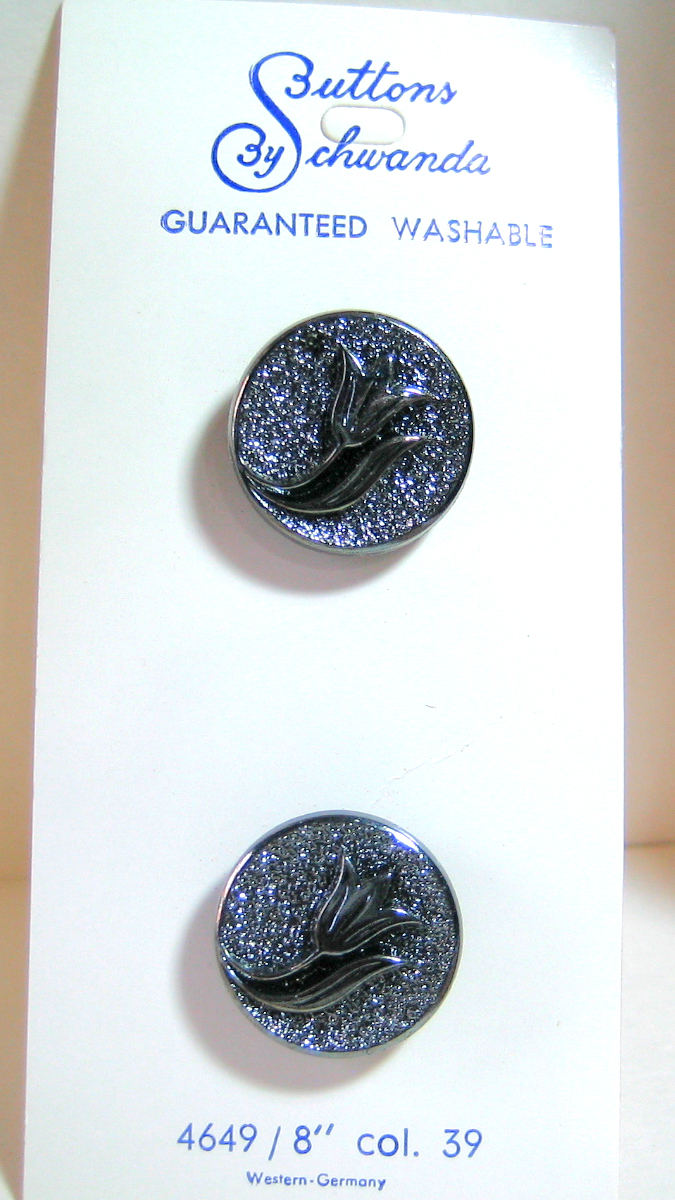 Orig. Card of Black Glass Buttons with Tulip Flower and Crystal or Gun Metal