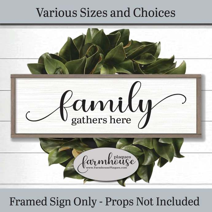Family Gathers Here Sign | Gather Sign Family Gift for Her Family Plaque