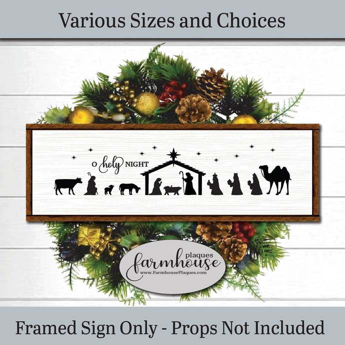 Nativity Scene Sign | Farmhouse Decor Signs and Plaques | Christmas Decoration |