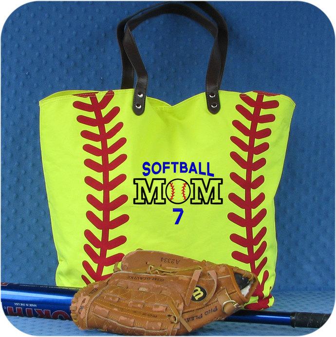 Softball Mom, Softball Gift, Softball Bag, Softball Tote Bag, Softball Coach,
