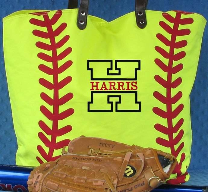 Personalized Softball Tote Bag, Softball Gifts for Mom, Softball Mom Bags