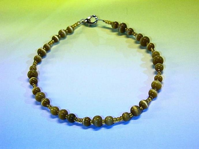 Golden beaded bracelet with cats eye beads OR small ANKLET