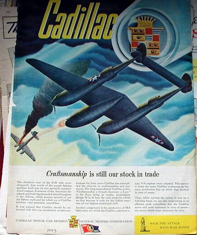 1943 Life Magazine Ad-Cadillac P 38 Allison engine