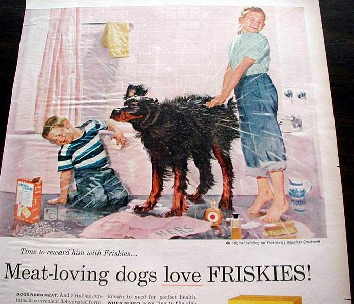1956 Life Magazine Ad-Meat Loving Dogs Love Friskies