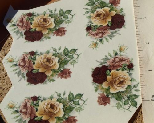 Multi-Colored Roses Ceramic Waterslide DecalsD9-23