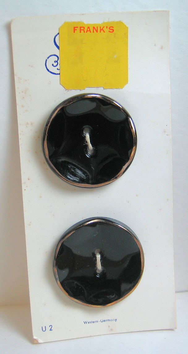 Orig. Card of Black Glass Buttons with Gold Luster Rim 4608-12