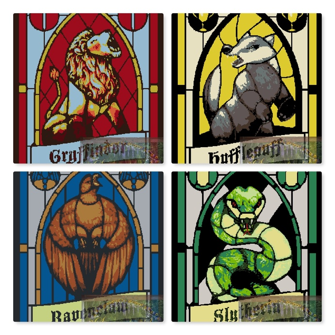 Graphghan patterns for all 4 Hogwarts House Crests. Gryffindor, Hufflepuff,