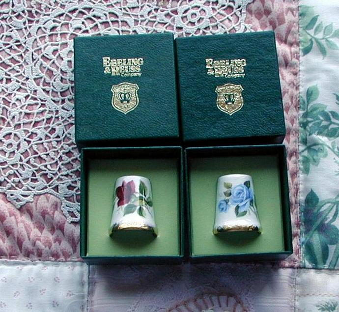 New in box, Porcelain Vintage Thimble by Golden Crown. Made in England