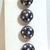 Black Glass Buttons with White Glass Overlay and Gold Luster threading 7648-6