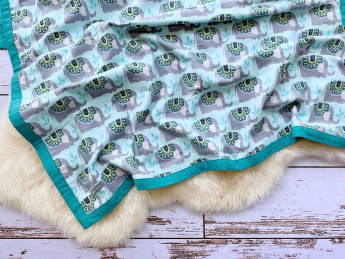 Elephant Shower & Baltic Blue Double-Layer Flannel Blanket