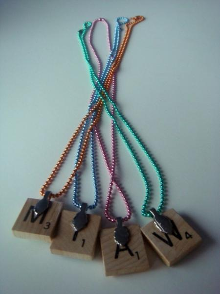 Allah Scrabble Tile Pendanet Necklace - Brown Calligraphy