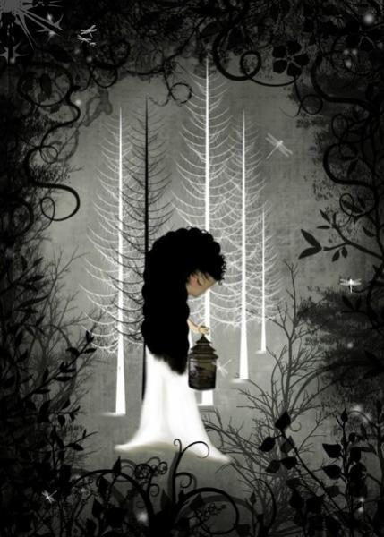 Dark Fantasy Art Print --- Into The Forest of Light