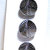 Original card of Black Glass Leaf Buttons with Silver Luster 4697-8