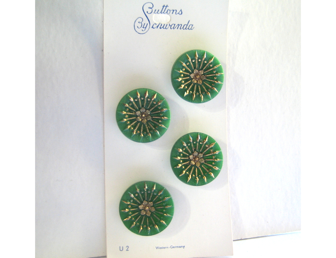 Card of Green Glass Buttons with Gold Luster 2792-8 Vintage 1950s