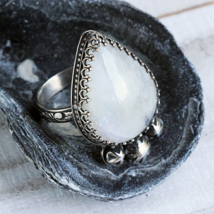 Moon Drop Ring - Large White Moonstone with Star accents Metalwork Statement