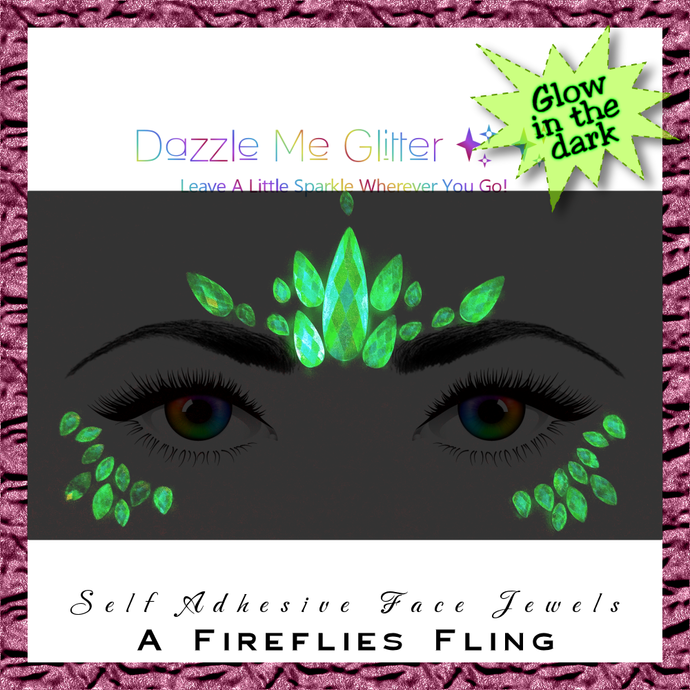 A Fireflies Fling - Glow in the dark, self adhesive face and body gems