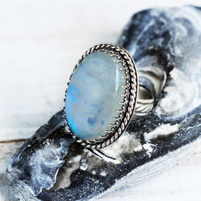 Moon Child Ring - Large Rainbow Moonstone Metalwork Statement Ring Sterling