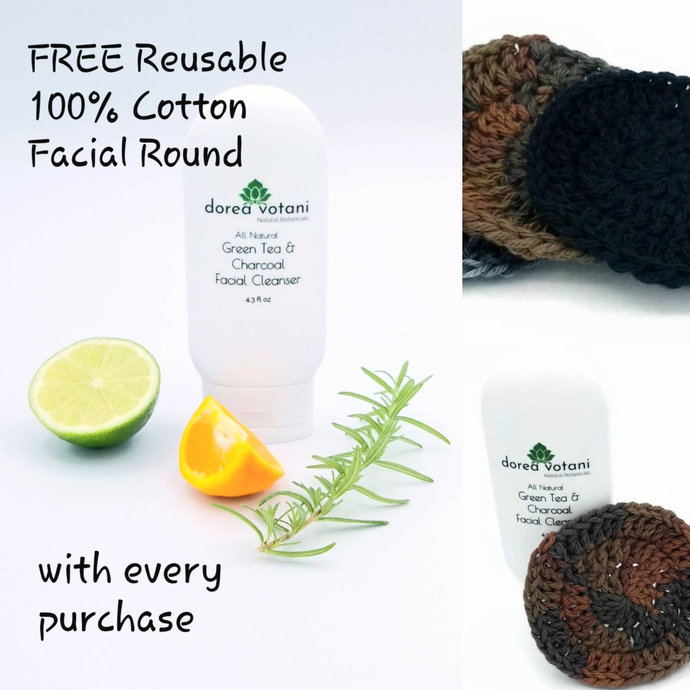 Face Cleanser Charcoal and Green Tea All Natural Gentle with Hemp oil Sensitive