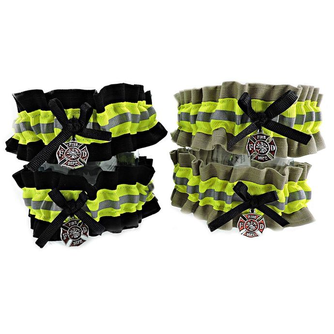 Firefighter Wedding Garter Set of Two, With Optional Embroidered Name Added to
