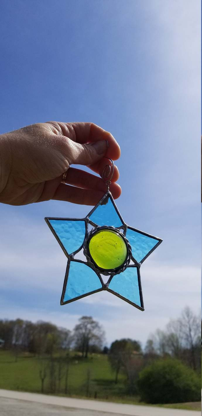 Blue and green star suncatcher stained glass