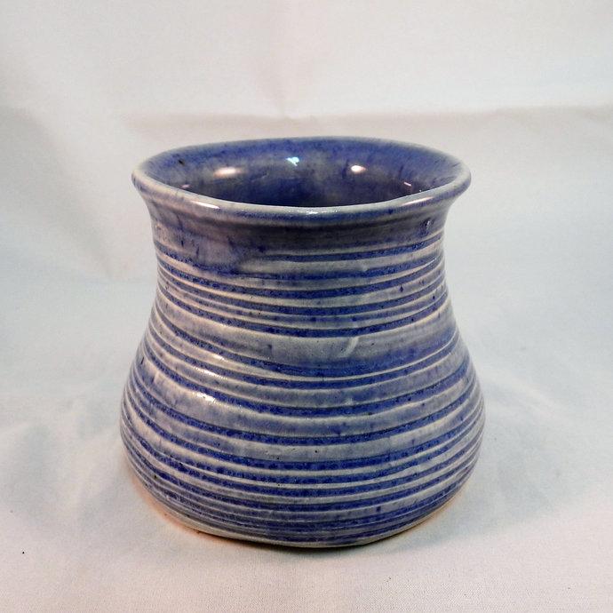 Small Blue Flower Vase,  Pottery Vase, Flower Vase, Flower Vessel, Handmade