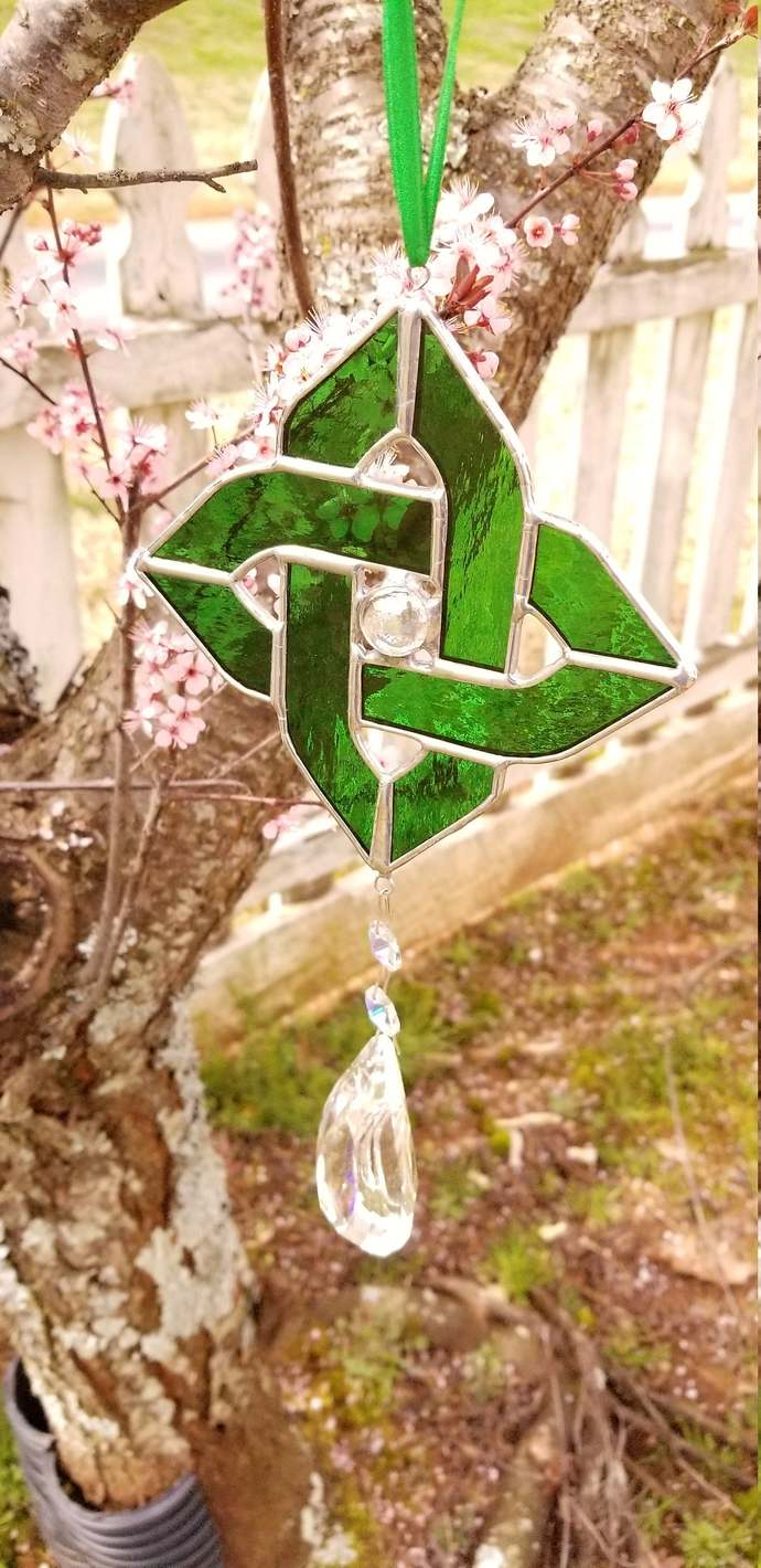 Green Celtic knot suncatcher shield knot with giant iridized crystal pendant