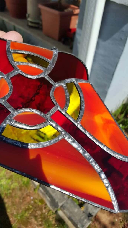 Cross suncatcher stained glass red yellow Christian theme large cross art glass