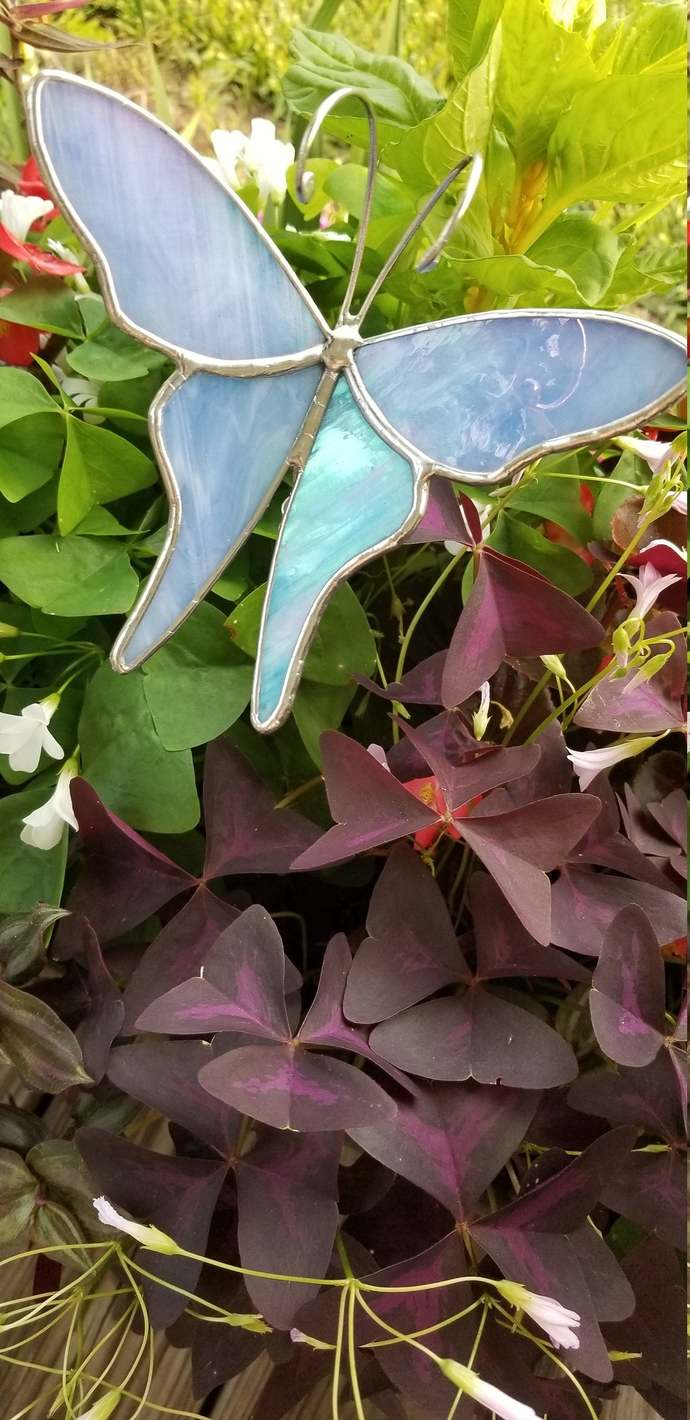 Powder blue stained glass butterfly plant stake iridized 3d handmade plant poke