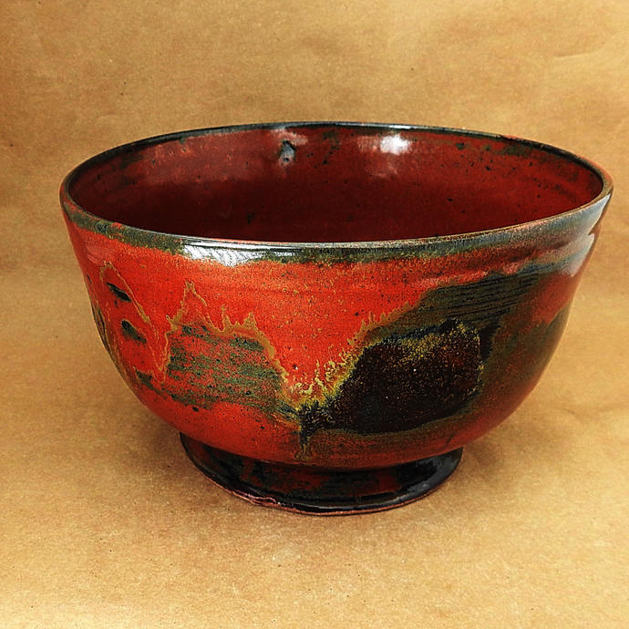 Rusty Red With Dark Brown Accent Serving Bowl, Vegetable Bowl, Pasta Bowl, Salad