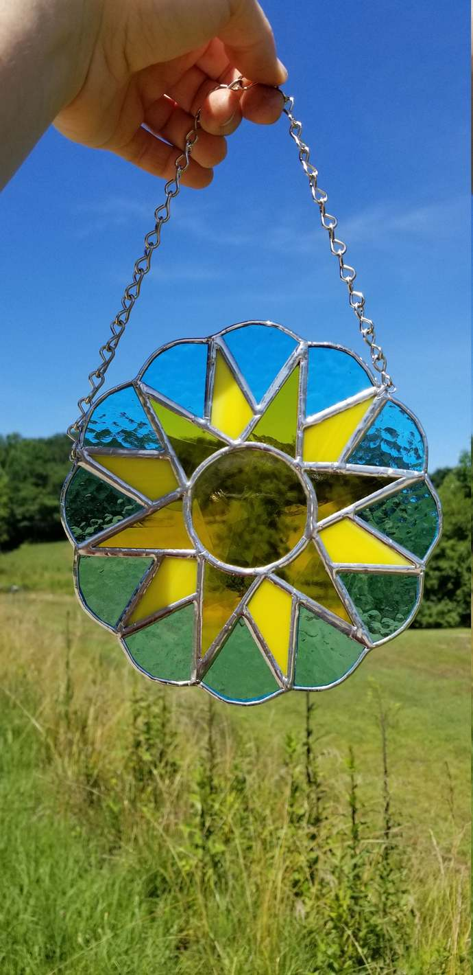 Yellow summer sun suncatcher stained glass blue sky silver metal accents