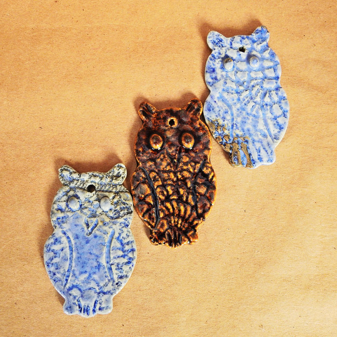 Three Owl Ceramic Christmas Tree Ornaments,  Lace Design Owls Ornaments, Ceramic
