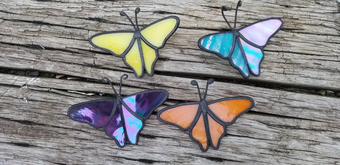 Handmade stained glass butterflies 3D set of 4, small size, yellow blue purple