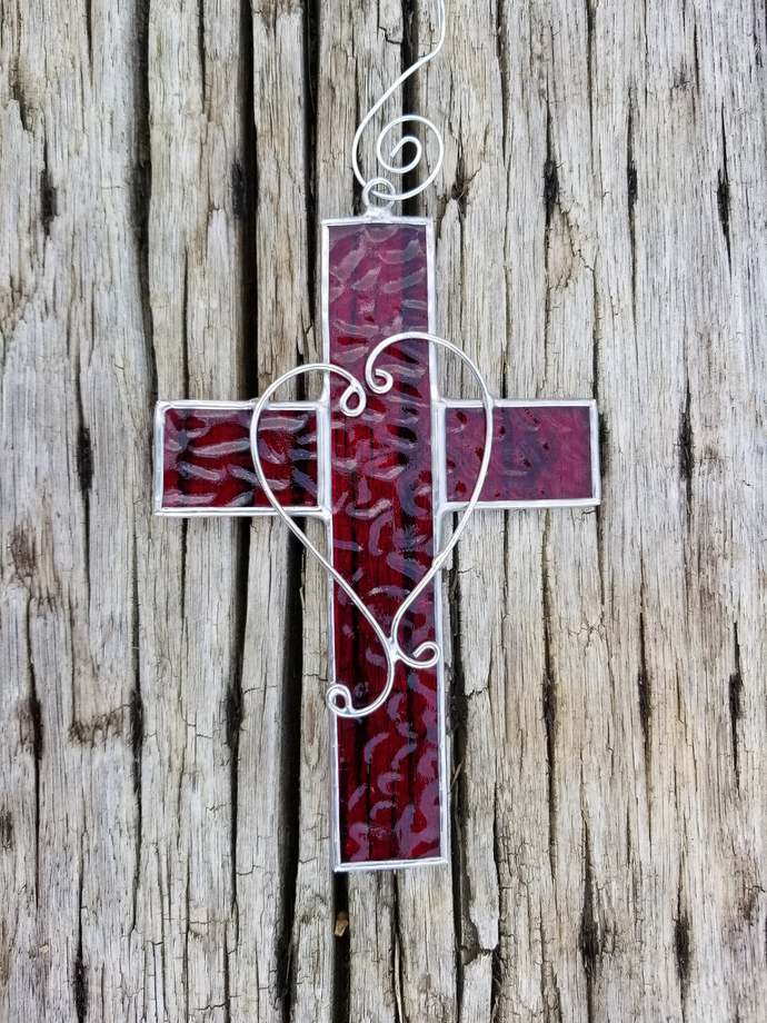 Red stained glass cross suncatcher Christmas ornament God is Love wire filligree