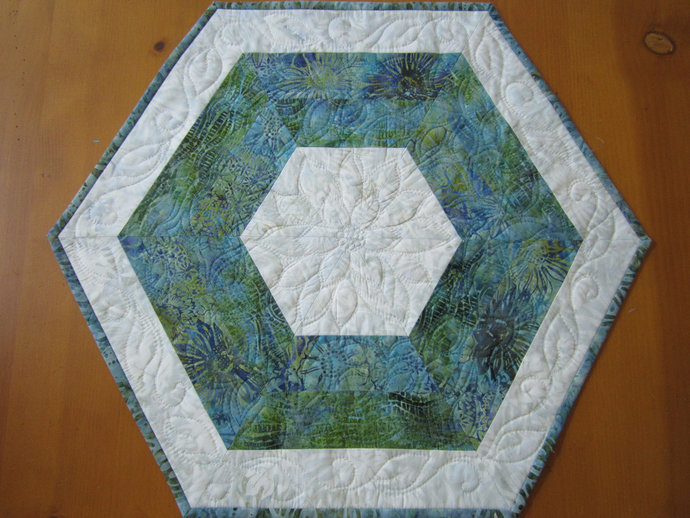 Table Topper Quilted Hexagon Batik Table Mat Handmade Gift
