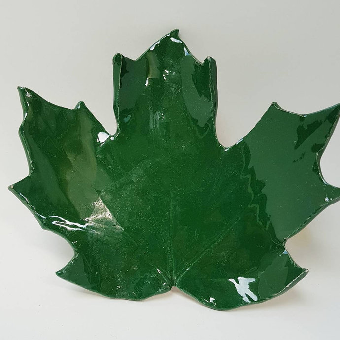 Spoon Rest, Pottery Maple Leaf Spoon Rest, Leaf Green Color, Tea Candle Holder,