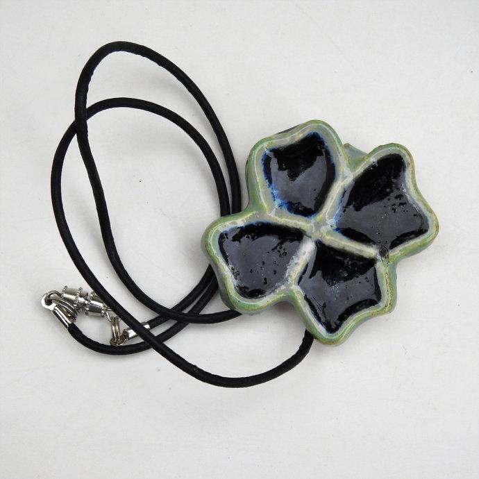 Four Leaf Clover Pendant Necklace, Green Framed Necklace With Black Glass
