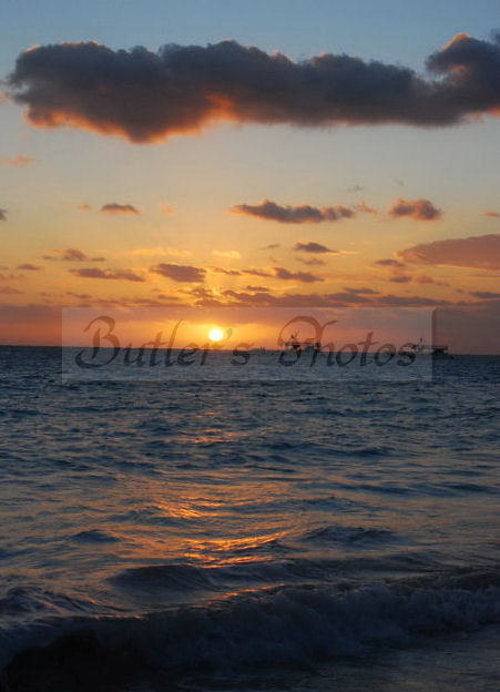 Atlantic Sun Rise Photograph, Beautiful Golden Tropical Ocean Sunrise, Fine Art