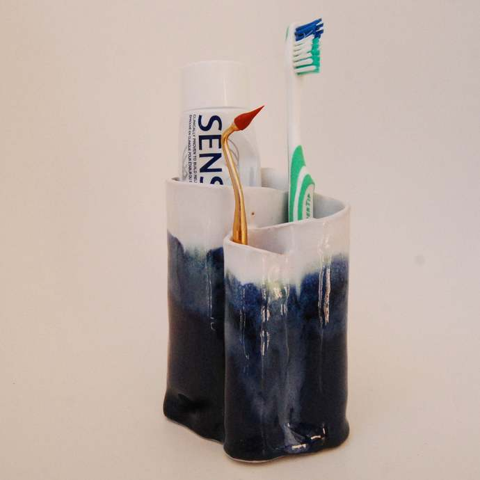 Ceramic Toothbrush Holder, Navy Blue and White Color, Pottery Pencil Holder,