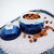 Large Ceramic Sugar Bowl With A Lid, Marine Blue, Sky Blue Accent, Snow White