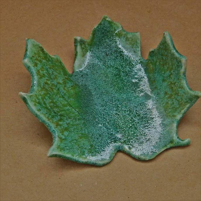 Spoon Rest, Pottery Maple Leaf Spoon Rest, Green Spoon Rest, Tea Candle Holder,