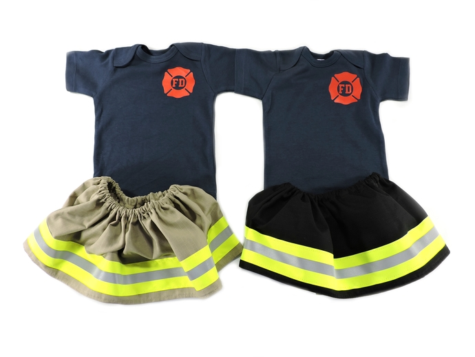 Firefighter Toddler Girl Wide Birthday Outfit, Halloween Costume, Bunker Turnout